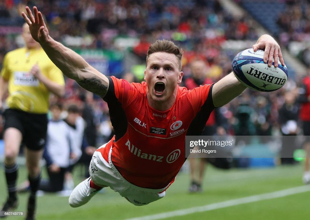 Chris Ashton of Saracens dives over for their first try during the European Rugby Champions Cup Final between ASM Clermont Auvergen and Saracens at Murrayfield Stadium on May 13, 2017 in Edinburgh, Scotland.
