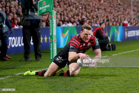 Chris Ashton of Saracens dives over to score a try during the Heineken Cup QuarterFinal match between Ulster and Saracens at Ravenhill on April 5...
