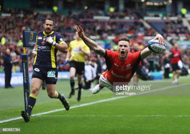Chris Ashton of Saracens dives over to score the opening try during the European Rugby Champions Cup Final between ASM Clermont Auvergne and Saracens...