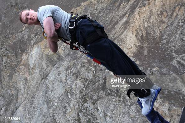 Chris Ashton the England wing dives off at the 134 meter high Nevis Bungy jump during an England IRB Rugby World Cup 2011 team visit on September 12...