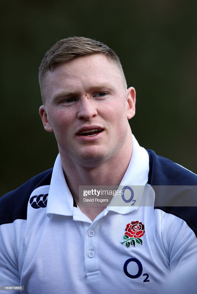 Chris Ashton, the England wing, faces the media after the England training session at Pennyhill Park on March 14, 2013 in Bagshot, England.