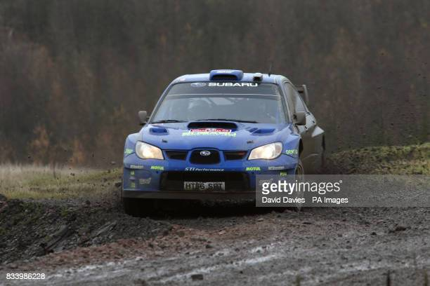 Chris Atkinson of Australia in the Subaru Impreza WRC in Walters Arena on the Rheola Special Stage of the Wales Rally GB during the FIA World Rally...