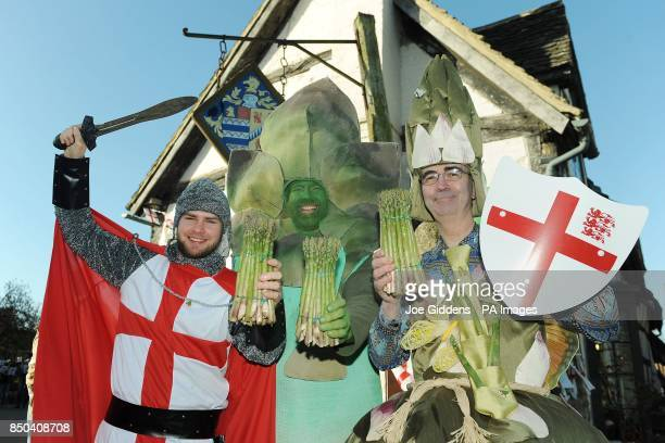 Chris Ayliffe dressed as St George Gus the Asparagusman and John Jenkinson dressed as Eve the Asparafairy celebrate the launch of British asparagus...