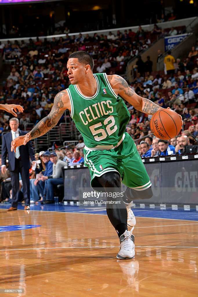 <a gi-track='captionPersonalityLinkClicked' href=/galleries/search?phrase=Chris+Babb&family=editorial&specificpeople=5758599 ng-click='$event.stopPropagation()'>Chris Babb</a> #52 of the Boston Celtics drives against the Philadelphia 76ers at the Wells Fargo Center on April 14, 2014 in Philadelphia, Pennsylvania.