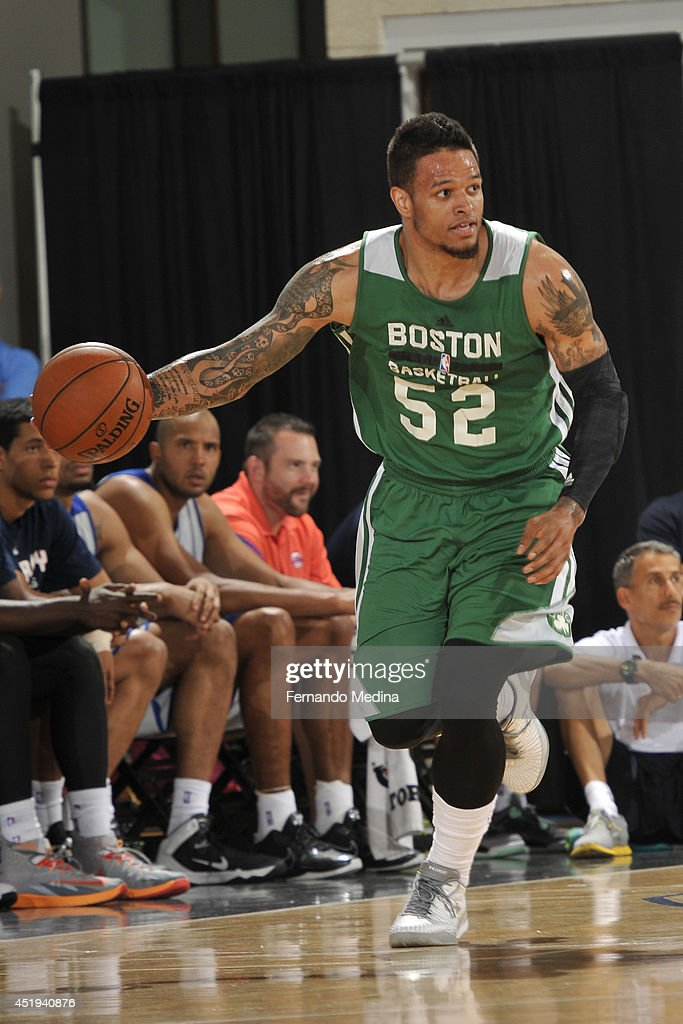 <a gi-track='captionPersonalityLinkClicked' href=/galleries/search?phrase=Chris+Babb&family=editorial&specificpeople=5758599 ng-click='$event.stopPropagation()'>Chris Babb</a> #52 of the Boston Celtics handles the ball against the Detroit Pistons during the Samsung NBA Summer League 2014 on July 9, 2014 at Amway Center in Orlando, Florida.