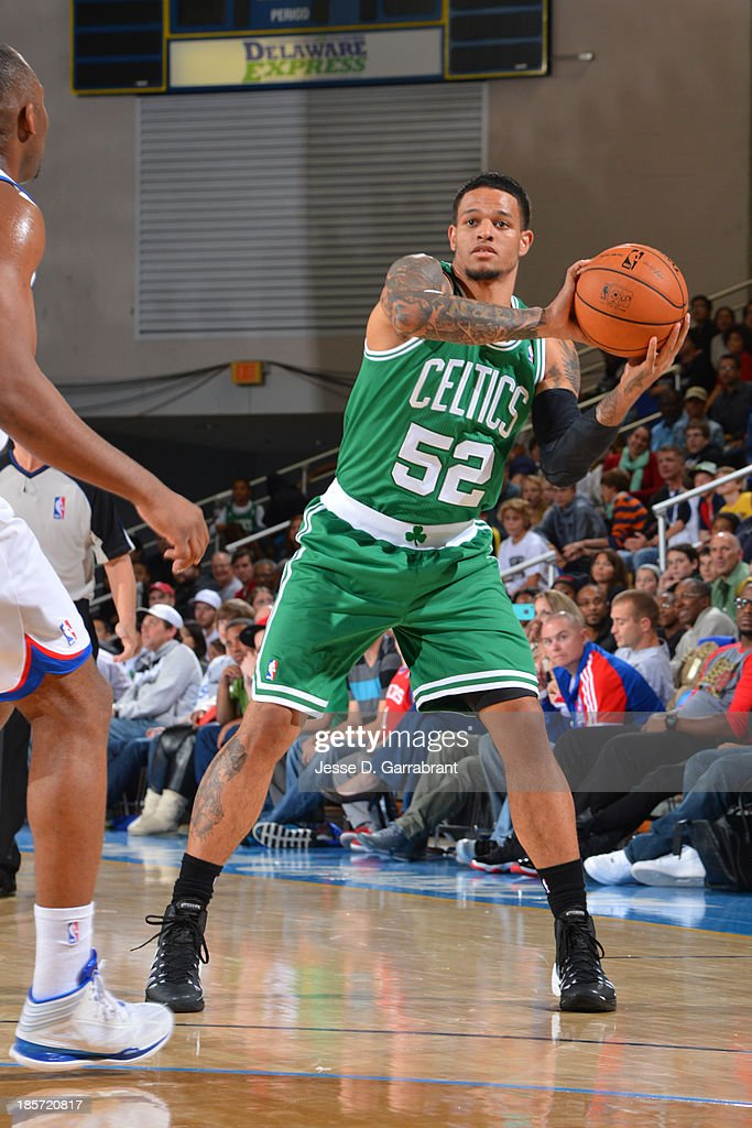 <a gi-track='captionPersonalityLinkClicked' href=/galleries/search?phrase=Chris+Babb&family=editorial&specificpeople=5758599 ng-click='$event.stopPropagation()'>Chris Babb</a> #52 of the Boston Celtics passes the ball against the Philadelphia 76ers at the Bob Carpenter Center on October 11, 2013 in Newark, Delaware.
