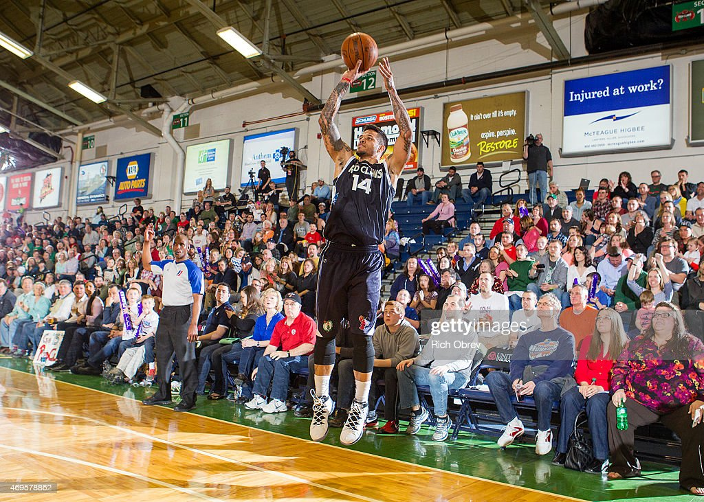 <a gi-track='captionPersonalityLinkClicked' href=/galleries/search?phrase=Chris+Babb&family=editorial&specificpeople=5758599 ng-click='$event.stopPropagation()'>Chris Babb</a> #14 of the Maine Red Claws puts up a shot against the Fort Wayne Mad Ants during Playoff Game #2 on April 11, 2015 at the Portland Expo.
