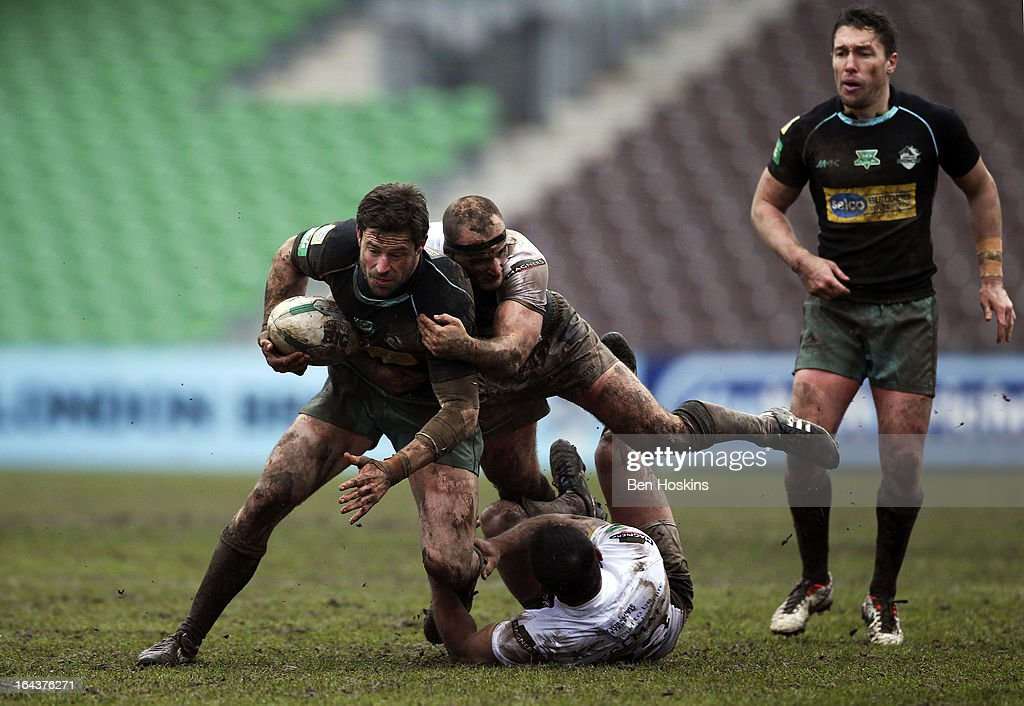 Chris Bailey of the London Broncos is tackled during the Super League match between London Broncos and Hull at Twickenham Stoop on March 23, 2013 in London, England.