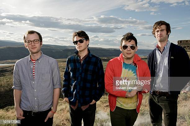 Chris Baio Ezra Koenig Rostam Batmanglij and Chris Tomson of Vampire Weekend pose for a portrait backstage at the Sasquatch Music Festival on 29th...