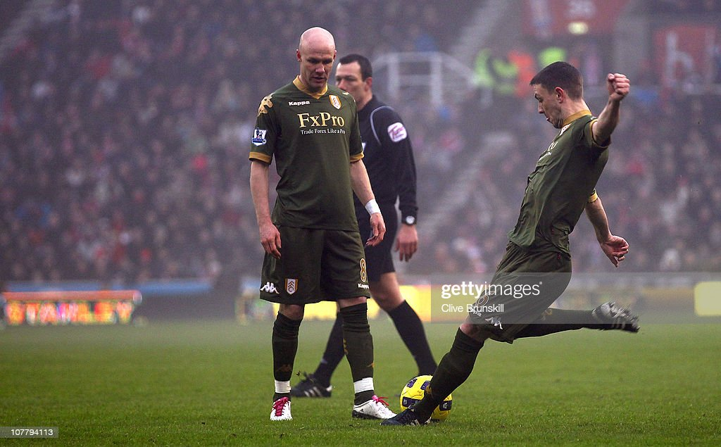 Chris Baird of Fulham scores his second goal from a free kick during the Barclays Premier League match between Stoke City and Fulham at Britannia Stadium on December 28, 2010 in Stoke on Trent, England.