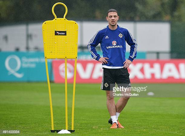 Chris Baird of Northern Ireland as the international football squad train at Queens Sports Centre on October 5 2015 in Belfast Northern Ireland...