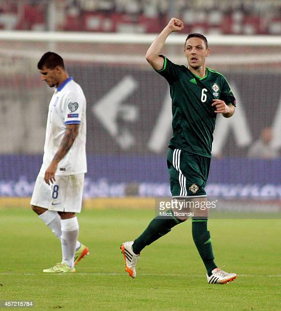 Chris Baird of Northern Ireland celebrate his team goal during the group F EURO 2016 qualifier between Greece and Northern Ireland at Georgios...