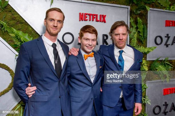 Chris Baker Carson Holmes and Mark Menchaca attend the 'Ozark' New York Screening at The Metrograph on July 20 2017 in New York City