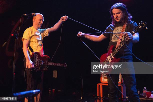 Chris Ballew and Andrew McKeag of The Presidents of the United States of America untangle their chords during PUSAFEST at The Showbox on February 15...