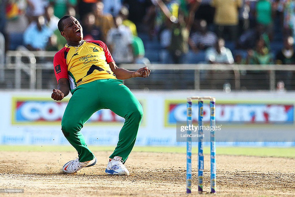 Chris Barnwell celebrates after bowling the final over during the Sixteenth Match of the Cricket Caribbean Premier League between Jamaica Tallawahs v Guyana Amazon Warriors at Sabina Park on August 15, 2013 in Kingston, Jamaica.