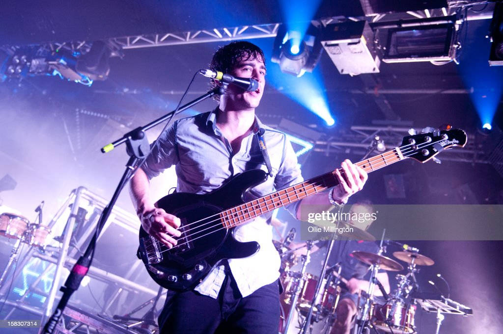 Chris Batten and Rob Rolfe of Enter Shikari Perform onstage during a day of the 5th UK leg of their A Flash Flood of Colour World Tour called A Flash Flood Of Christmas; at Rock City on December 12, 2012 in Nottingham, England.