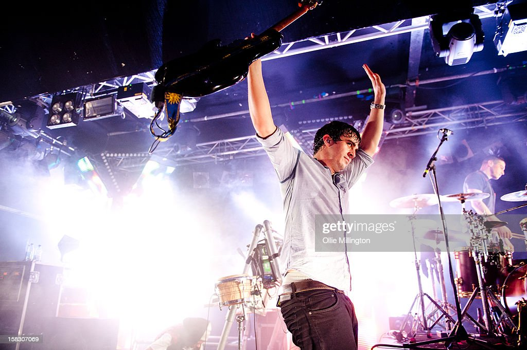 Chris Batten of Enter Shikari leaves the stage after Performing onstage during a day of the 5th UK leg of their A Flash Flood of Colour World Tour called A Flash Flood Of Christmas; at Rock City on December 12, 2012 in Nottingham, England.