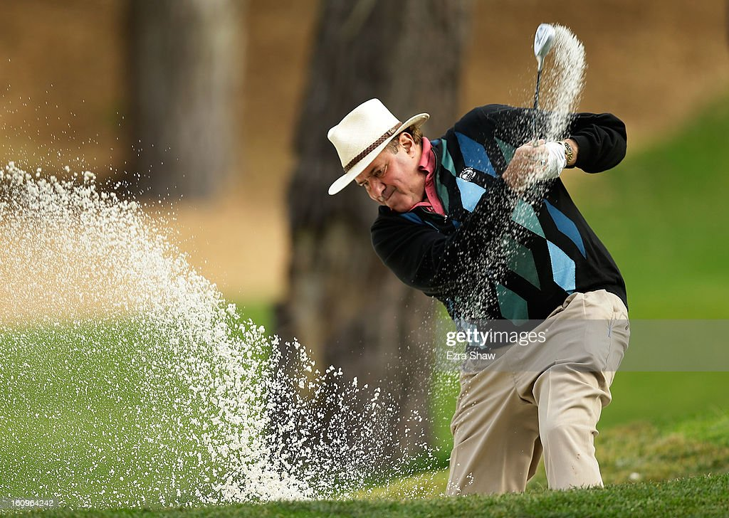 Chris Berman of ESPN hits a bunker shot during the first round of the AT&T Pebble Beach National Pro-Am at Spyglass Hill on February 7, 2013 in Pebble Beach, California.