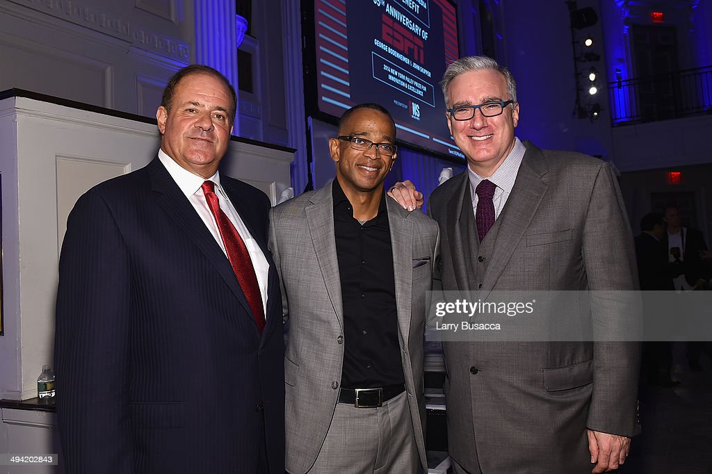 Chris Berman, Stuart Scott and Keith Olbermann attend the Paley Prize Gala honoring ESPN's 35th anniversary presented by Roc Nation Sports on May 28, 2014 in New York City.