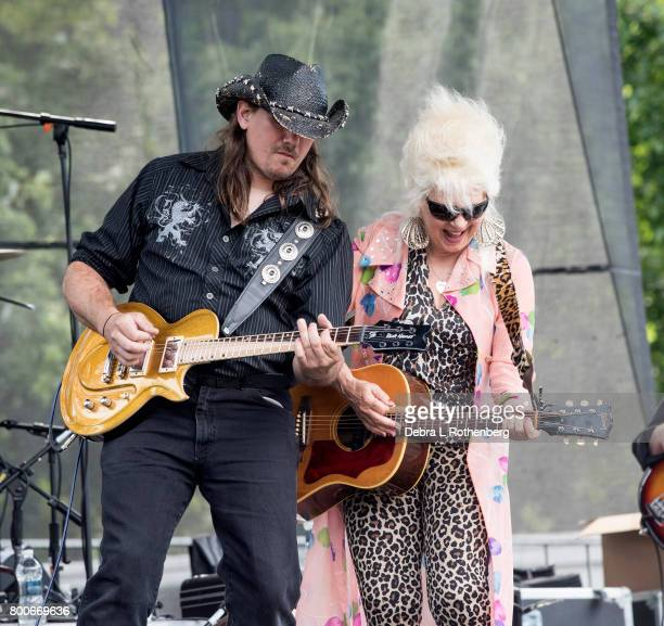 Chris Bickley and Christine Ohlman performs at the RocklandBergen Music Festival at German Masonic Park on June 24 2017 in Tappan New York