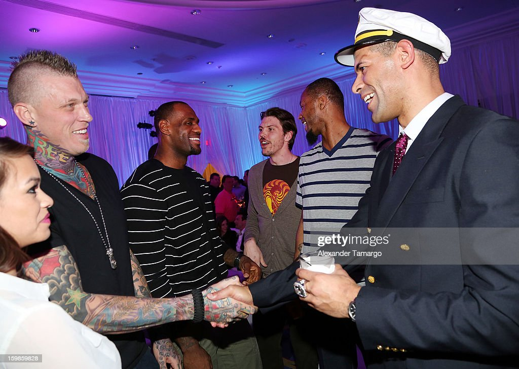 Chris 'Birdman' Anderson, LeBron James, Mike Miller, Rashard Lewis and Shane Battier attend the Second Annual 'South Beach Battioke' to Benefit The Battier Take Charge Foundation at Eden Roc Hotel on January 21, 2013 in Miami Beach, Florida.