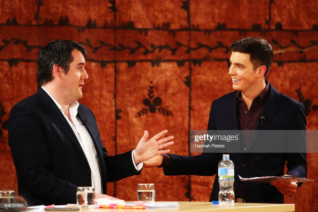 Chris Bishop of the National Party debates with Jack Tame during the 1 NEWS Young Voters Debate at Auckland University on September 14, 2017 in Auckland, New Zealand.