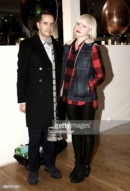Chris Bletzer and Fiona Byrne attend Faberge Big Egg Hunt Cocktail Countdown event on January 28 2014 in New York City New York