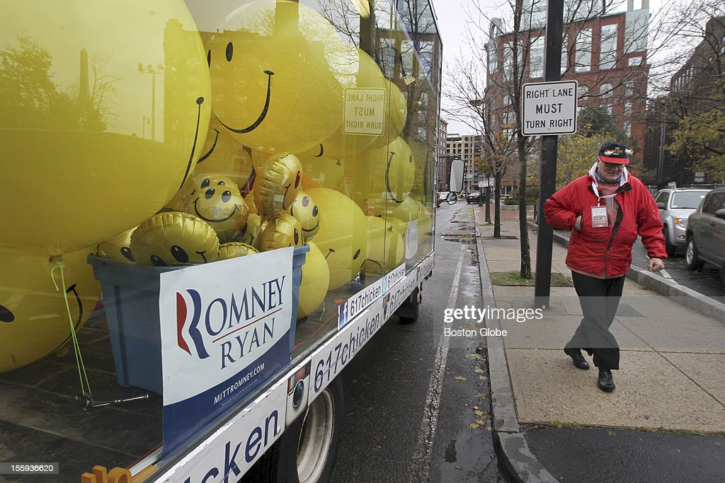 Chris Bock outside his promotional truck in support of Romney's campaign in front of Romney headquarters on Atlantic Avenue. He came to the headquarters to show his support and meet a member for lunch.