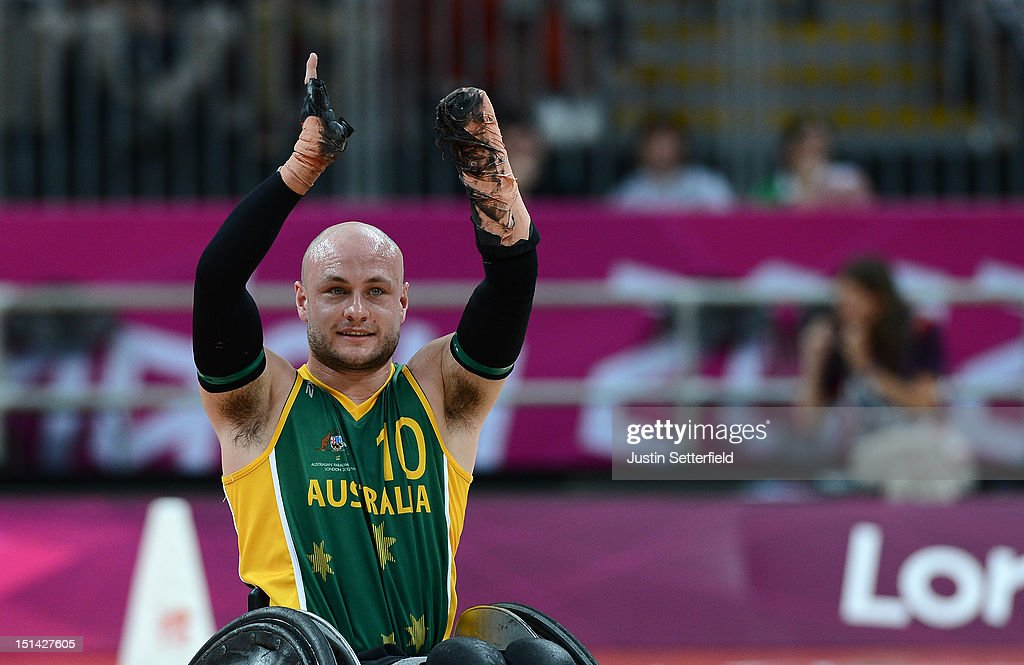Chris Bond (10) of Australia celebrates during the Mixed Wheelchair Rugby - Open match between Australia and Belgium on Day 9 of the London 2012 Paralympic Games at the Basketball Arena in the Olympic Park on September 7, 2012 in London, England.