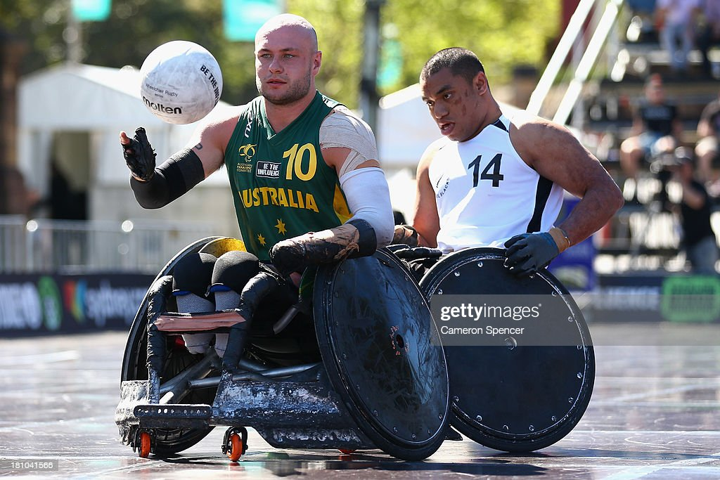 Chris Bond of Australia controls the ball during the Wheelchair Rugby Tri-Nations match between Australia and New Zealand on September 19, 2013 in Sydney, Australia.
