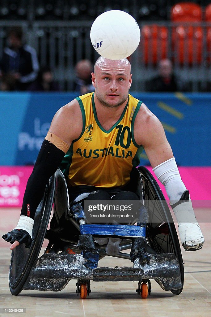 Chris Bond (#10) of Australia in action during day 1 of the LOCOG Test Event for London 2012 International Invitational Wheelchair Rugby Tournament match between Sweden and Australia at Basketball Arena on April 18, 2012 in London, England.