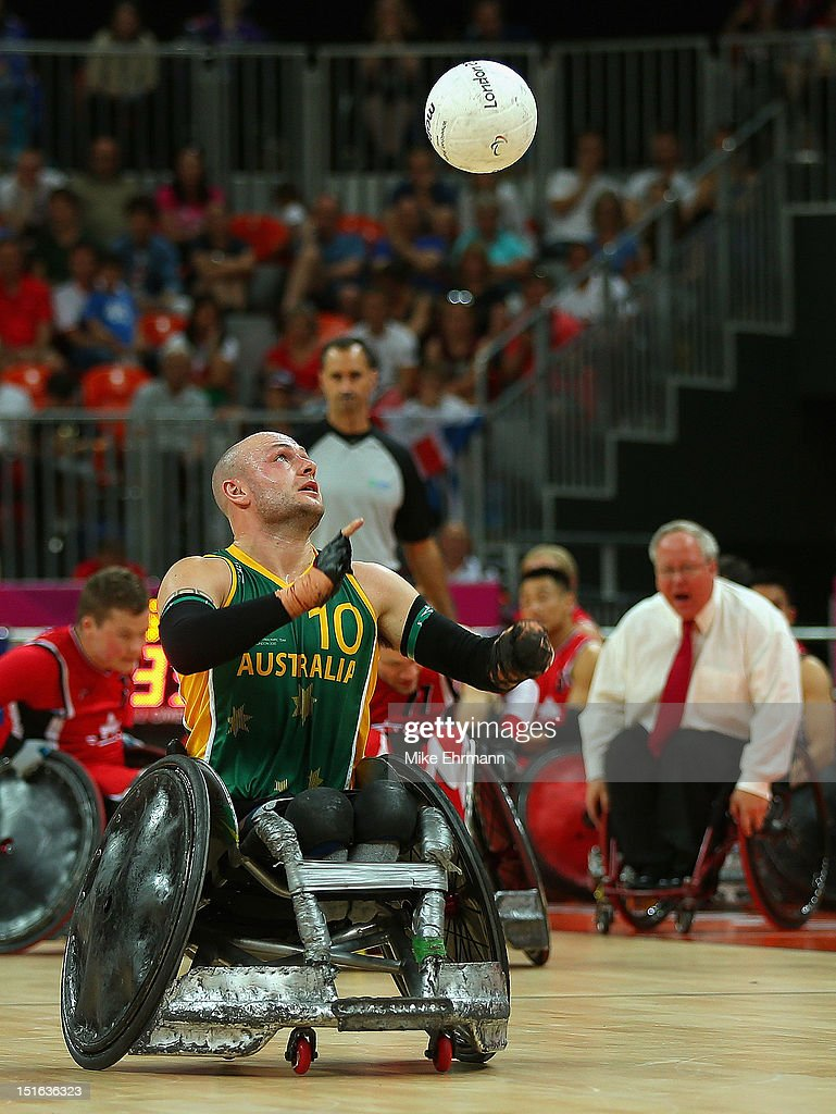Chris Bond #10 of Australia in action during the Gold Medal match of Mixed Wheelchair Rugby against Canada on day 11 of the London 2012 Paralympic Games at Basketball Arena on September 9, 2012 in London, England.