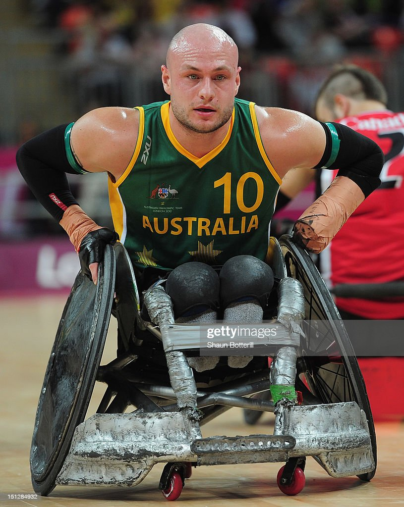 Chris Bond of Australia in action during the Wheelchair Rugby match between Australia and Canada on day 7 of the London 2012 Paralympic Games at Basketball Arena on September 5, 2012 in London, England.