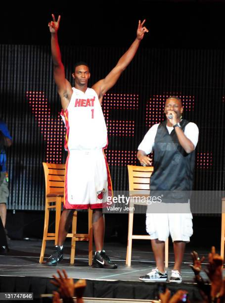 Chris Bosh and DJ Irie attend HEAT Summer of 2010 Welcome Event at AmericanAirlines Arena on July 9 2010 in Miami Florida