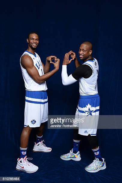 Chris Bosh and Dwyane Wade of the Eastern Conference AllStars team pose for a portrait before the NBA AllStar Game on February 14 2016 at the Air...