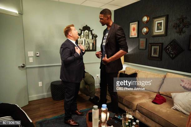 Chris Bosh chats with James Corden in the green room during 'The Late Late Show with James Corden' Tuesday July 25 2017 On The CBS Television Network