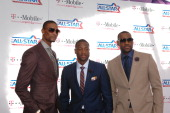 Chris Bosh Dwyane Wade and LeBron James of the Eastern Conference arrive before the game against the Western Conference during the 2011 NBA AllStar...