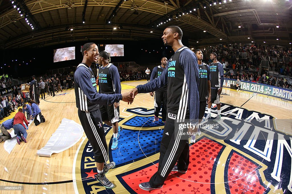 Chris Bosh #1 greets DeMar DeRozan #10 of the Eastern Conference All-Stars during the NBA All-Star Practices at Sprint Arena as part of 2014 NBA All-Star Weekend at the Ernest N. Morial Convention Center on February 15, 2014 in New Orleans, Louisiana.