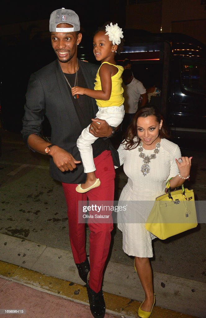 Chris Bosh, his wife Adrienne Bosh is sighted at Prime 112 Steakhouse on June 3, 2013 in Miami Beach, Florida.