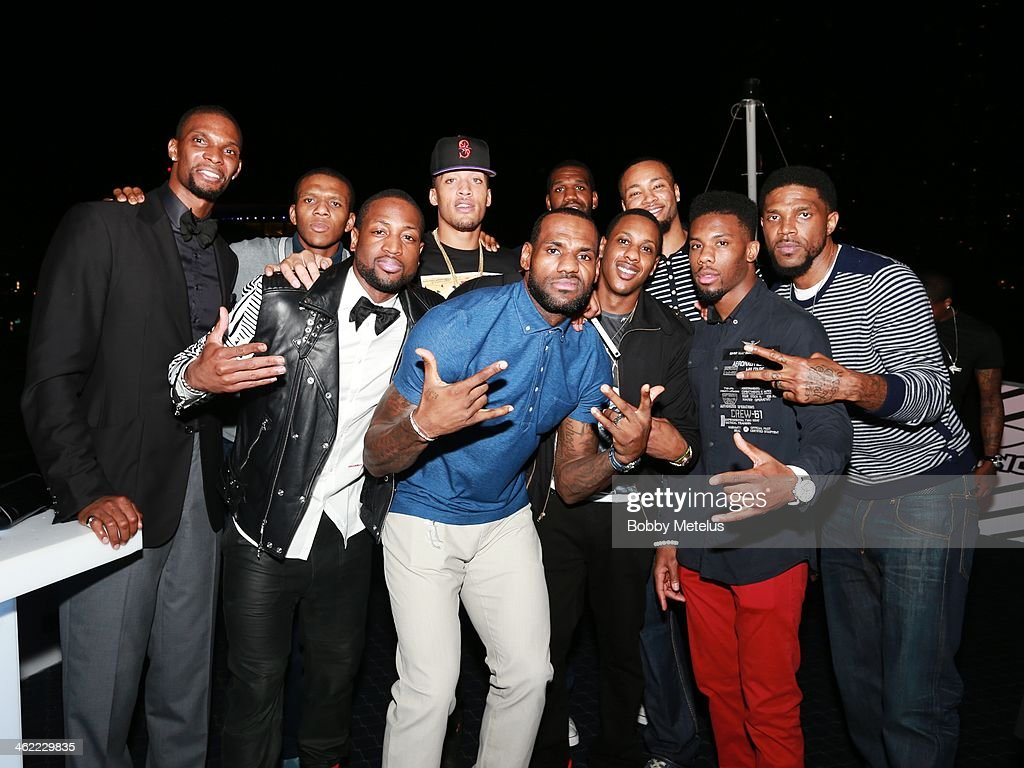 Chris Bosh, James Jones, Dwyane Wade, Micheal Beasley, LeBron James, Mario Chalmers, Greg Oden, Rashard Lewis, Norris Cole and Udonis Haslem attend Dwyane Wade's 'Rock The Boat' 32nd Birthday Party on January 11, 2014 in Miami Beach, Florida.