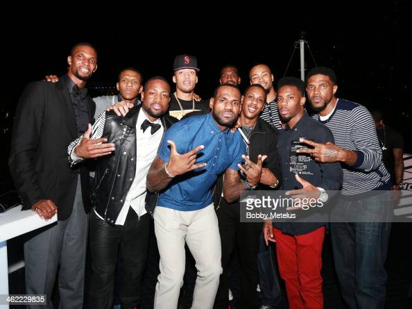 Chris Bosh James Jones Dwyane Wade Micheal Beasley LeBron James Mario Chalmers Greg Oden Rashard Lewis Norris Cole and Udonis Haslem attend Dwyane...