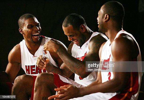 Chris Bosh LeBron James and Dwyane Wade of the Miami Heat answers questions during media day at the Bank United Center on September 27 2010 in Miami...