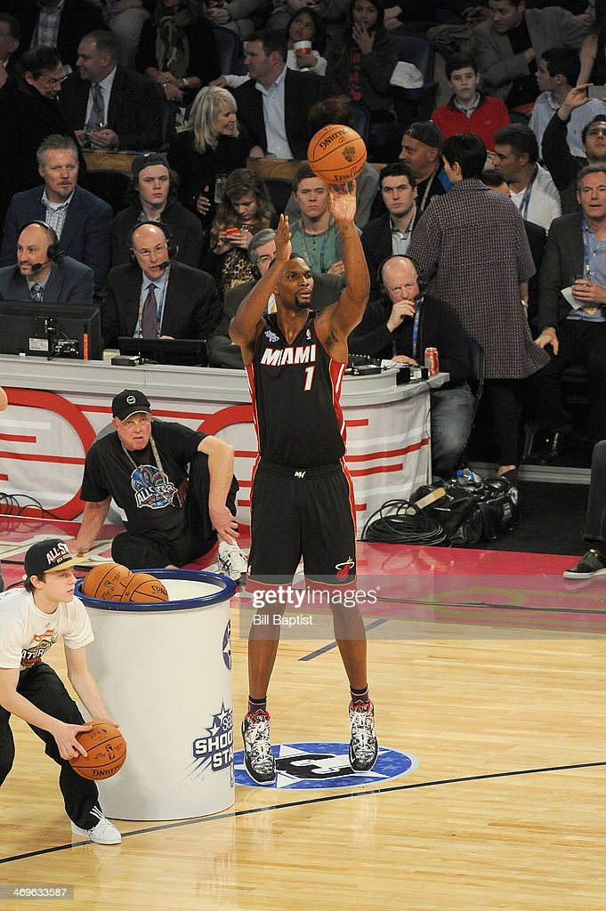 <a gi-track='captionPersonalityLinkClicked' href=/galleries/search?phrase=Chris+Bosh&family=editorial&specificpeople=201574 ng-click='$event.stopPropagation()'>Chris Bosh</a> #1 of the East Team shoots during the Sears Shooting Stars Competition on State Farm All-Star Saturday Night as part of the 2014 All-Star Weekend at Smoothie King Center on February 15, 2014 in New Orleans, Louisiana.