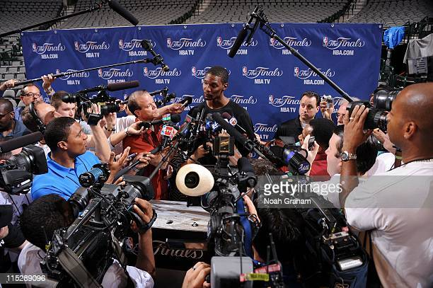 Chris Bosh of the Miami Heat addresses the media during NBA Finals Media Availability on June 6 2011 at American Airlines Center in Dallas Texas NOTE...