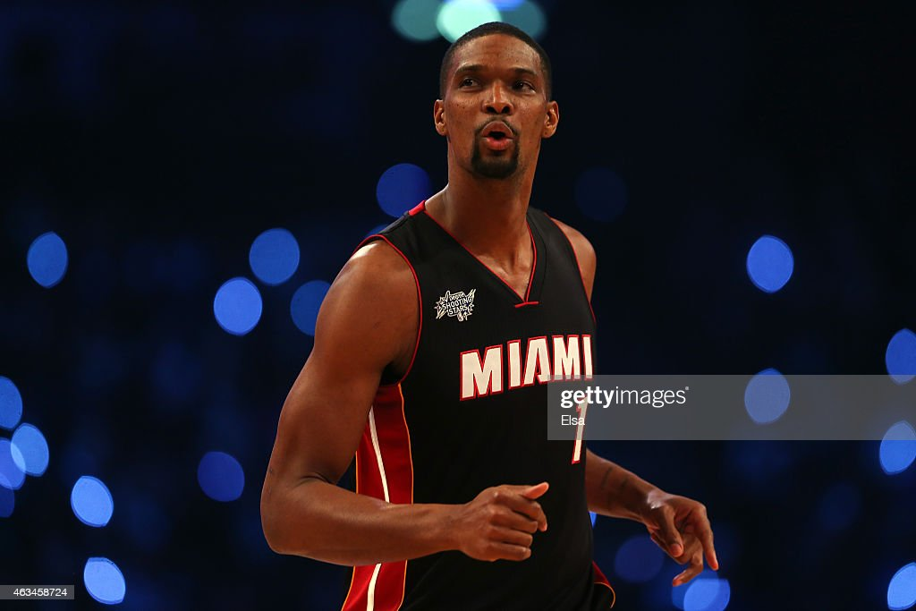 <a gi-track='captionPersonalityLinkClicked' href=/galleries/search?phrase=Chris+Bosh&family=editorial&specificpeople=201574 ng-click='$event.stopPropagation()'>Chris Bosh</a> #1 of the Miami Heat and the Eastern Conference competes during the Degree Shooting Stars Competition as part of the 2015 NBA Allstar Weekend at Barclays Center on February 14, 2015 in the Brooklyn borough of New York City.