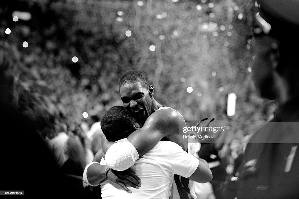 Chris Bosh #1 of the Miami Heat celebrates after the Heat won 121-106 against the Oklahoma City Thunder in Game Five of the 2012 NBA Finals on June 21, 2012 at American Airlines Arena in Miami, Florida.