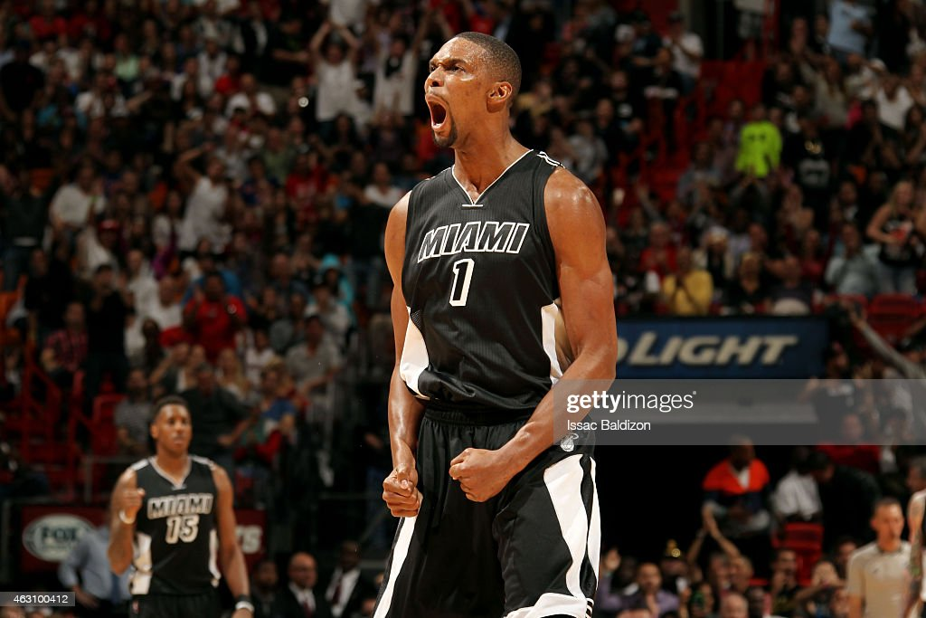 <a gi-track='captionPersonalityLinkClicked' href=/galleries/search?phrase=Chris+Bosh&family=editorial&specificpeople=201574 ng-click='$event.stopPropagation()'>Chris Bosh</a> #1 of the Miami Heat celebrates during a game against the New York Knicks on February 9, 2015 at American Airlines Arena in Miami, Florida.
