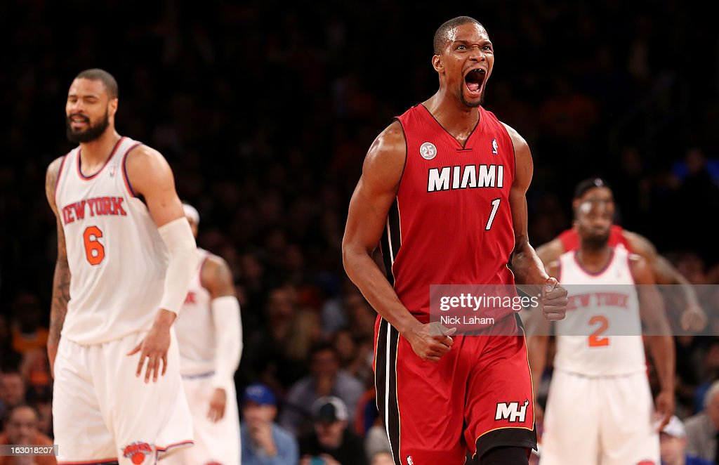 Chris Bosh #1 of the Miami Heat celebrates hitting a fourth quarter shot against the New York Knicks at Madison Square Garden on March 3, 2013 in New York City.NOTE
