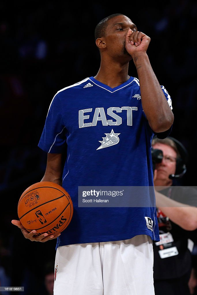 <a gi-track='captionPersonalityLinkClicked' href=/galleries/search?phrase=Chris+Bosh&family=editorial&specificpeople=201574 ng-click='$event.stopPropagation()'>Chris Bosh</a> of the Miami Heat competes during the Sears Shooting Stars Competition part of 2013 NBA All-Star Weekend at the Toyota Center on February 16, 2013 in Houston, Texas.