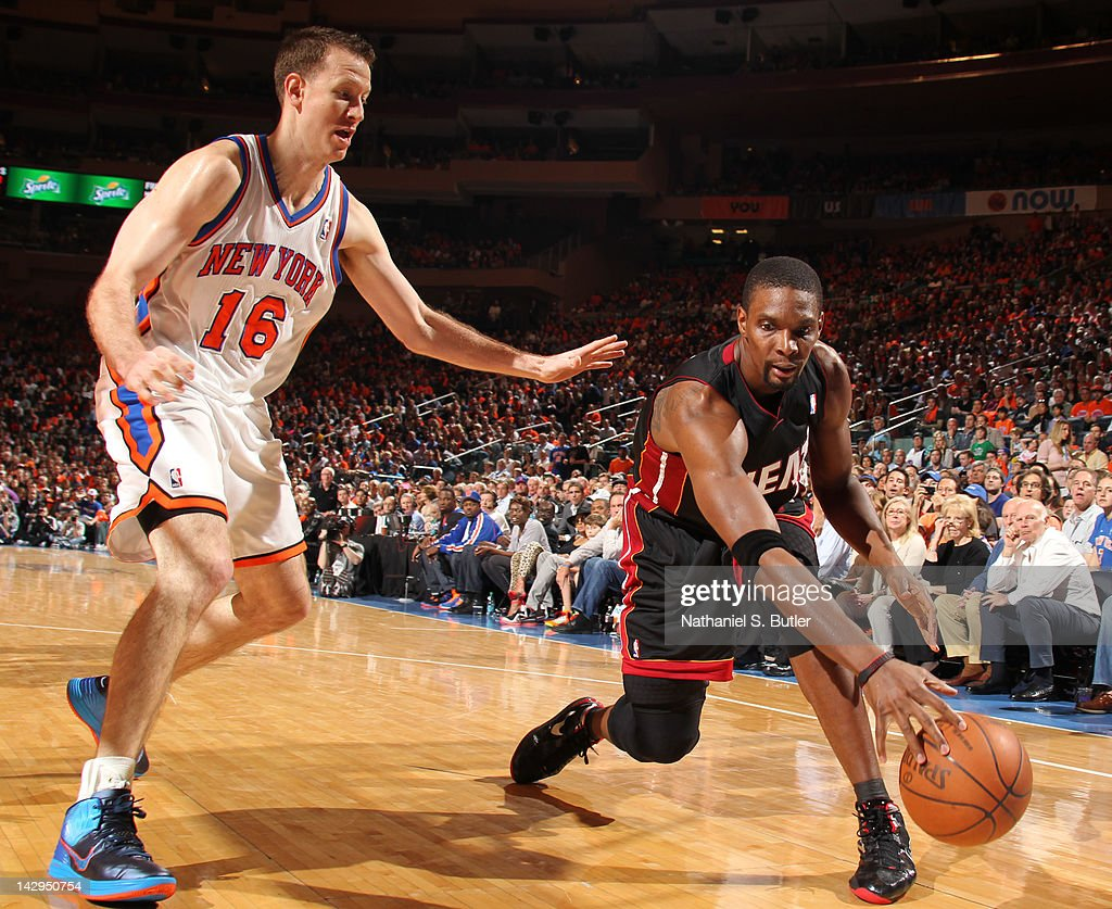 <a gi-track='captionPersonalityLinkClicked' href=/galleries/search?phrase=Chris+Bosh&family=editorial&specificpeople=201574 ng-click='$event.stopPropagation()'>Chris Bosh</a> #1 of the Miami Heat controls the ball against <a gi-track='captionPersonalityLinkClicked' href=/galleries/search?phrase=Steve+Novak&family=editorial&specificpeople=693015 ng-click='$event.stopPropagation()'>Steve Novak</a> #16 of the New York Knicks during the game on April 15, 2012 at Madison Square Garden in New York City.